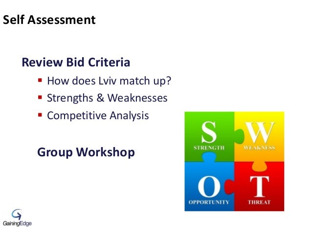 Self Assessment Review Bid Criteria  How does Lviv match up?  Strengths & Weaknesses  Competitive Analysis Group Worksh...