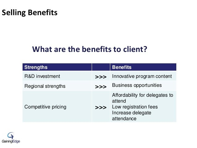 Selling Benefits What are the benefits to client? Strengths Benefits R&D investment >>> Innovative program content Regiona...