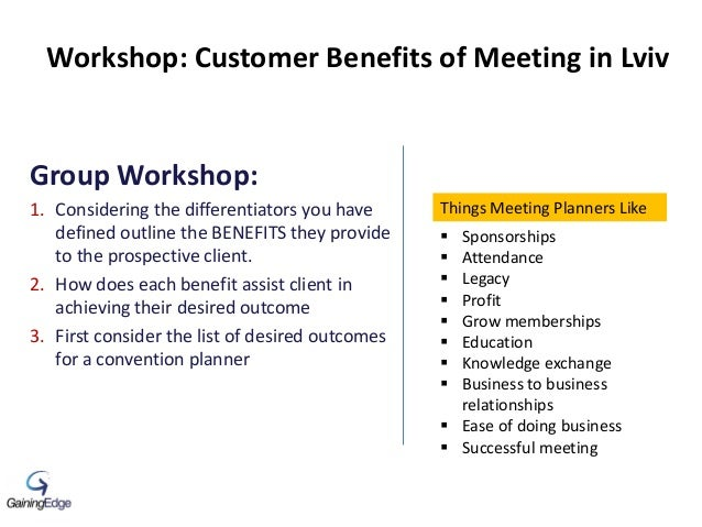 Group Workshop: 1. Considering the differentiators you have defined outline the BENEFITS they provide to the prospective c...