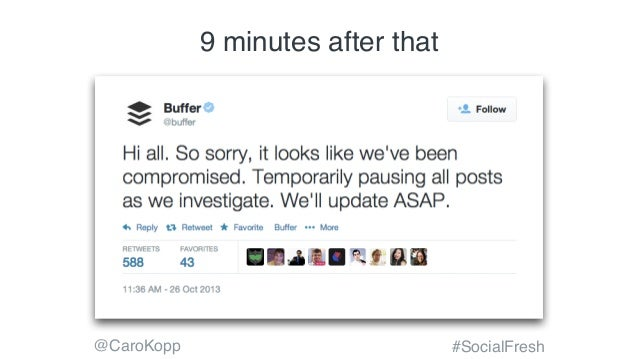 @CaroKopp #SocialFresh –Johnny Appleseed Type a quote here. 9 minutes after that