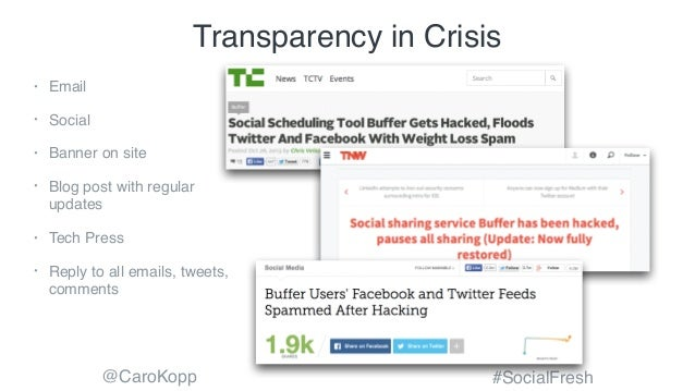 @CaroKopp #SocialFresh Transparency in Crisis • Email • Social • Banner on site • Blog post with regular updates • Tech Pr...