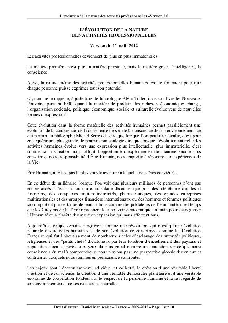 L'évolution de la nature des activités professionnelles –Version 2.0                            L'ÉVOLUTION DE LA NATURE  ...