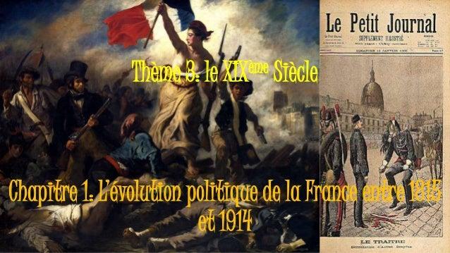 Thème 3: le XIXème Siècle Chapitre 1: L'évolution politique de la France entre 1815 et 1914