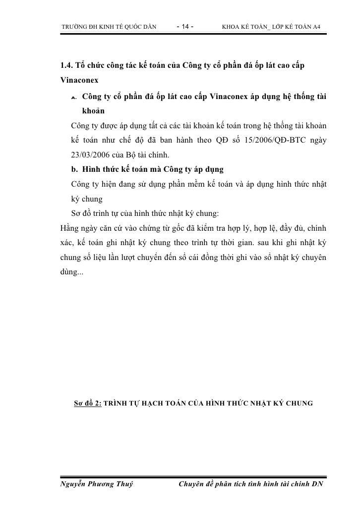 TRƯỜNG ĐH KINH TẾ QUỐC DÂN        - 14 -         KHOA KẾ TOÁN_ LỚP KẾ TOÁN A41.4. Tổ chức công tác kế toán của Công ty cổ ...