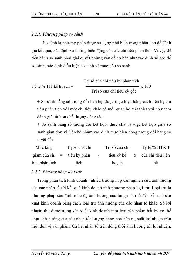 TRƯỜNG ĐH KINH TẾ QUỐC DÂN            - 20 -         KHOA KẾ TOÁN_ LỚP KẾ TOÁN A42.2.1. Phương pháp so sánh      So sánh l...