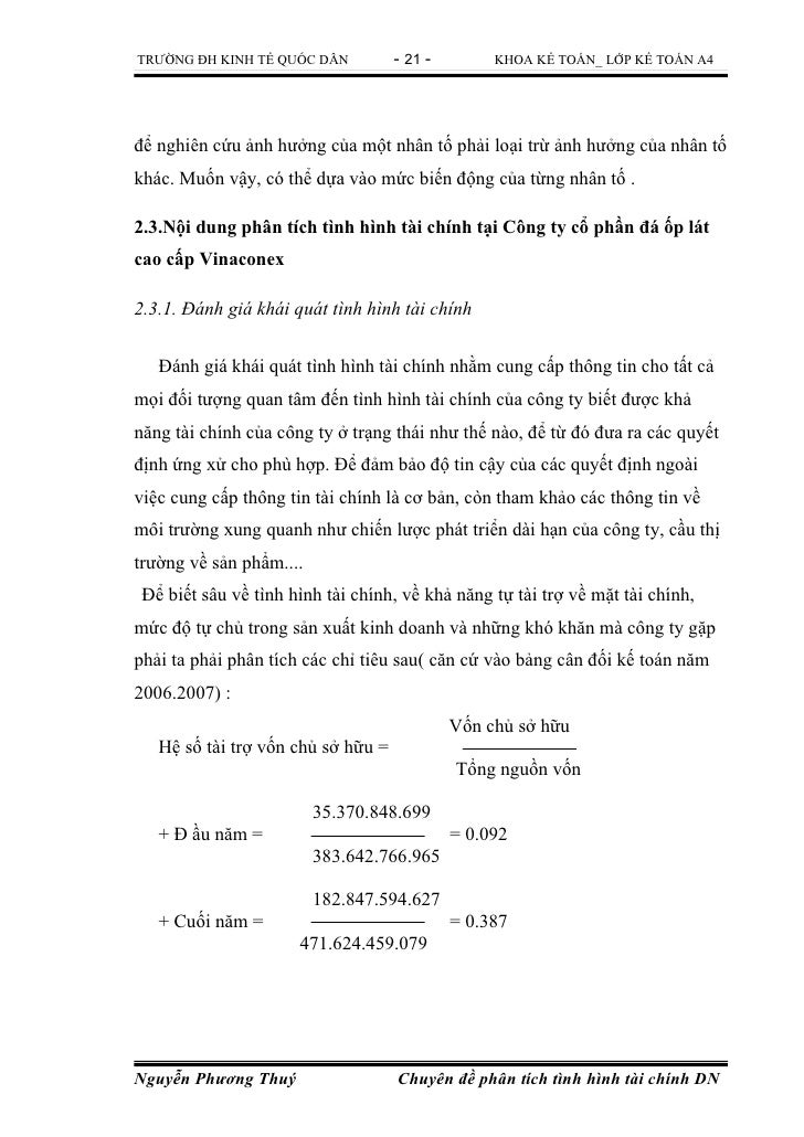 TRƯỜNG ĐH KINH TẾ QUỐC DÂN          - 21 -        KHOA KẾ TOÁN_ LỚP KẾ TOÁN A4để nghiên cứu ảnh hưởng của một nhân tố phải...