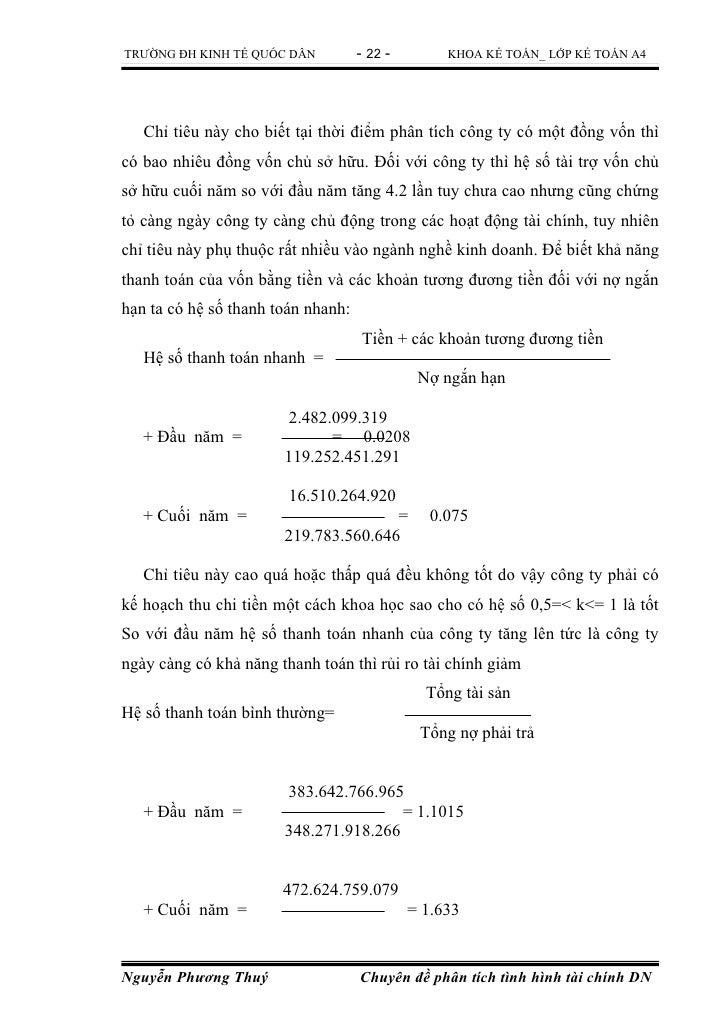 TRƯỜNG ĐH KINH TẾ QUỐC DÂN          - 22 -        KHOA KẾ TOÁN_ LỚP KẾ TOÁN A4   Chỉ tiêu này cho biết tại thời điểm phân ...