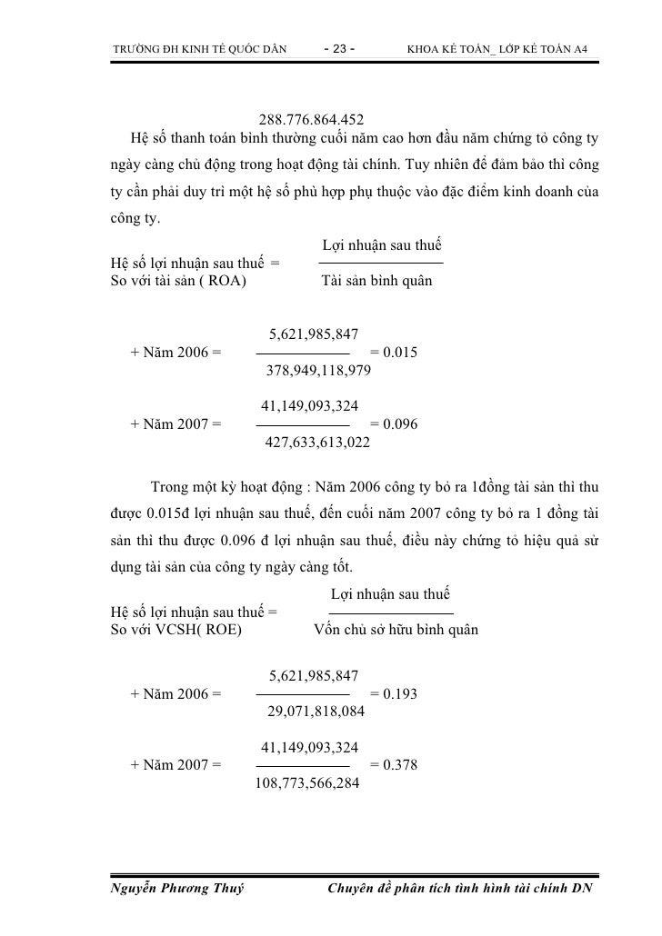 TRƯỜNG ĐH KINH TẾ QUỐC DÂN        - 23 -        KHOA KẾ TOÁN_ LỚP KẾ TOÁN A4                       288.776.864.452   Hệ số...