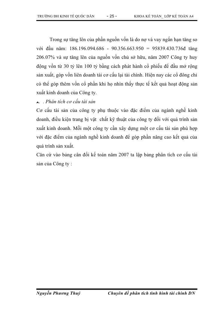 TRƯỜNG ĐH KINH TẾ QUỐC DÂN        - 25 -        KHOA KẾ TOÁN_ LỚP KẾ TOÁN A4      Trong sự tăng lên của phần nguồn vốn là ...
