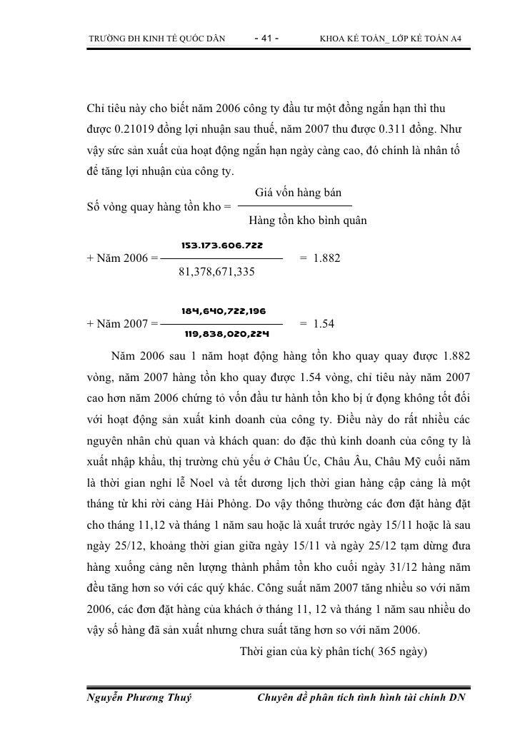TRƯỜNG ĐH KINH TẾ QUỐC DÂN         - 41 -       KHOA KẾ TOÁN_ LỚP KẾ TOÁN A4Chỉ tiêu này cho biết năm 2006 công ty đầu tư ...