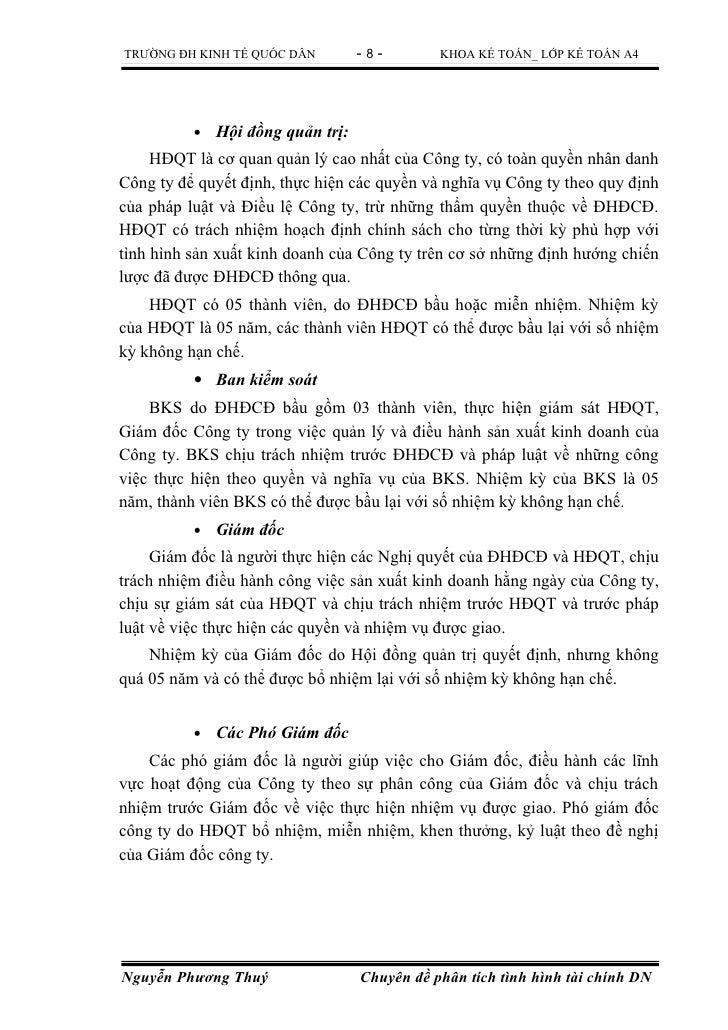 TRƯỜNG ĐH KINH TẾ QUỐC DÂN         -8-        KHOA KẾ TOÁN_ LỚP KẾ TOÁN A4          •   Hội đồng quản trị:     HĐQT là cơ ...