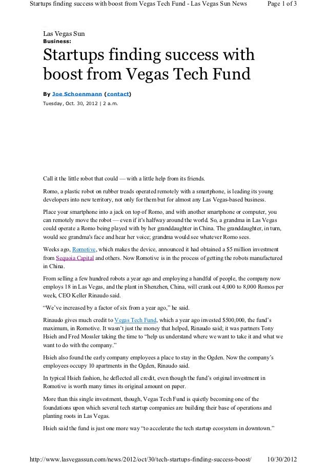 Startups finding success with boost from Vegas Tech Fund - Las Vegas Sun News                          Page 1 of 3    Las ...