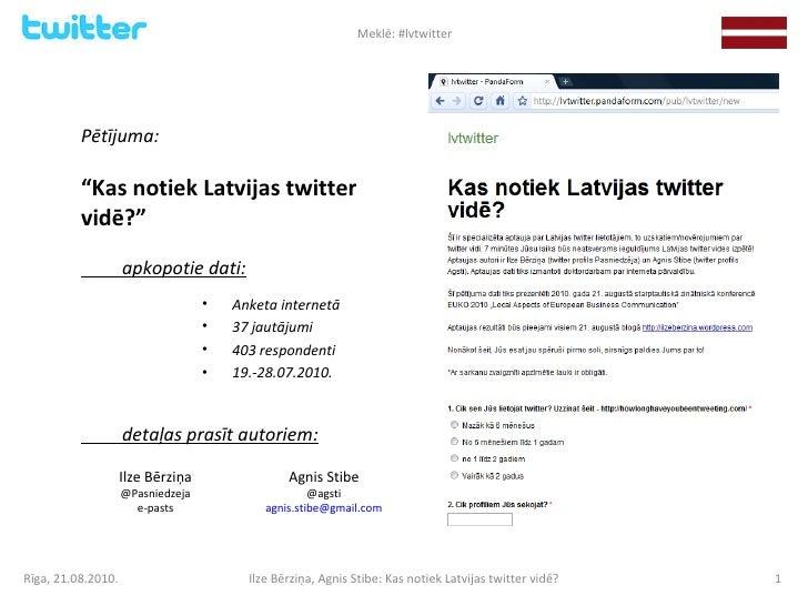 <ul><li>Anketa internetā </li></ul><ul><li>37 jautājumi </li></ul><ul><li>403 respondenti </li></ul><ul><li>19.-28.07.2010...