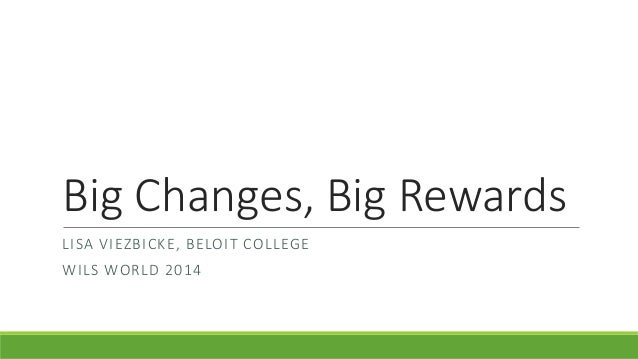 Big Changes, Big Rewards LISA VIEZBICKE, BELOIT COLLEGE WILS WORLD 2014