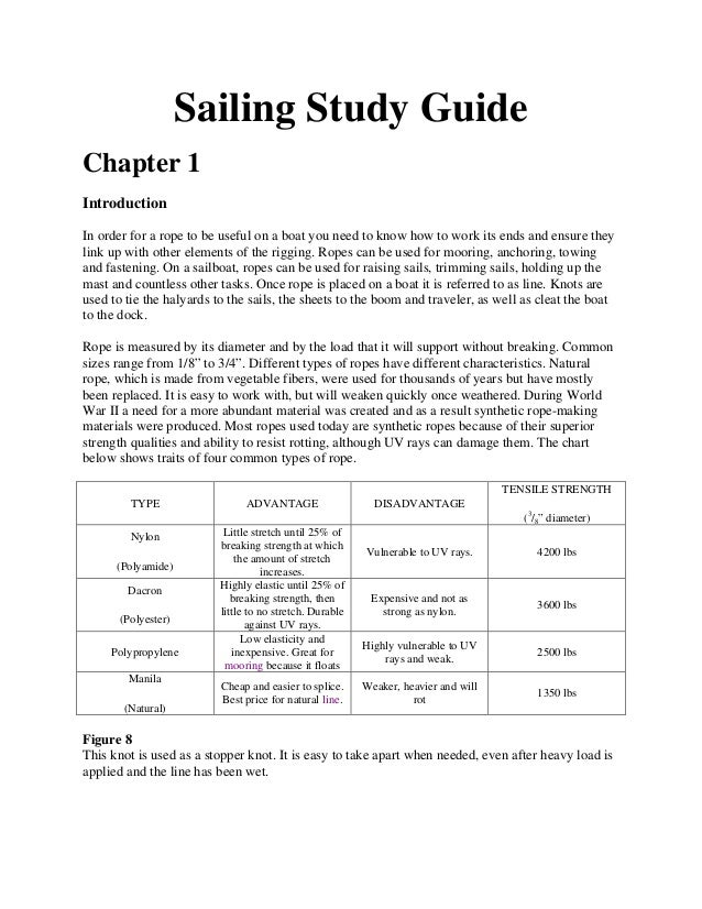 Sailing Study Guide Chapter 1 Introduction In order for a rope to be useful on a boat you need to know how to work its end...