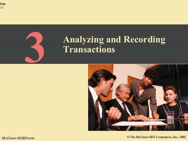 © The McGraw-Hill Companies, Inc., 2002 Slide 3-1 McGraw-Hill/Irwin 3 Analyzing and Recording Transactions