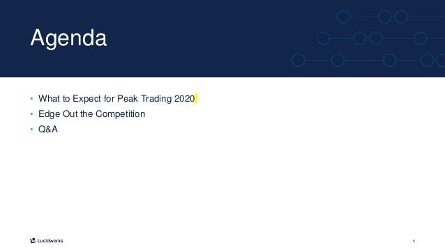 5 Agenda • What to Expect for Peak Trading 2020 • Edge Out the Competition • Q&A