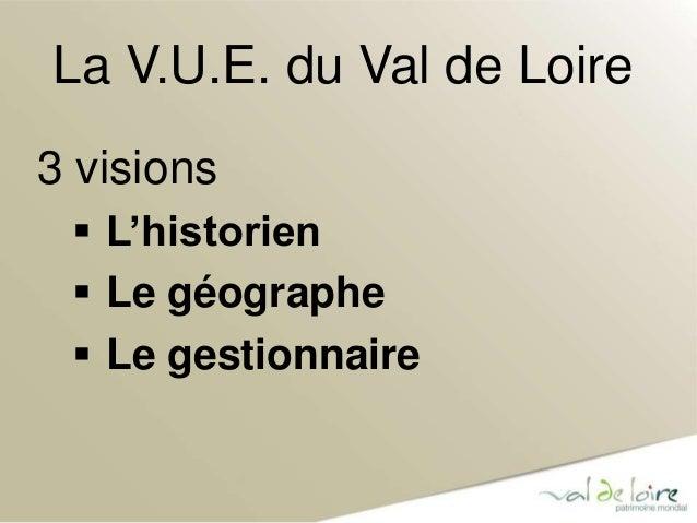 La V.U.E. du Val de Loire  3 visions   L'historien   Le géographe   Le gestionnaire