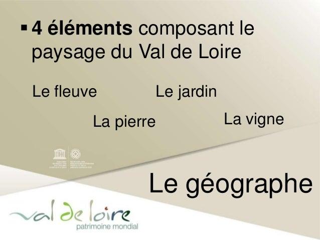  4 éléments composant le  paysage du Val de Loire  Le jardin  Le géographe  Le fleuve  La pierre  La vigne