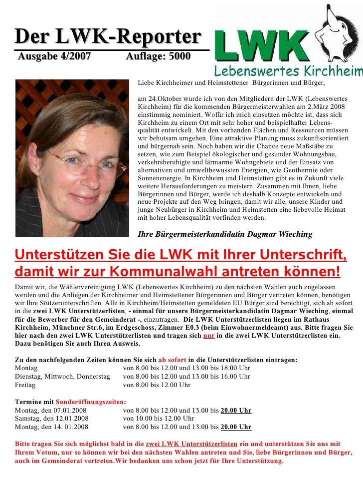 Der LWK-Reporter Ausgabe 4/2007                       Auflage: 5000                                           Liebe Kirchh...