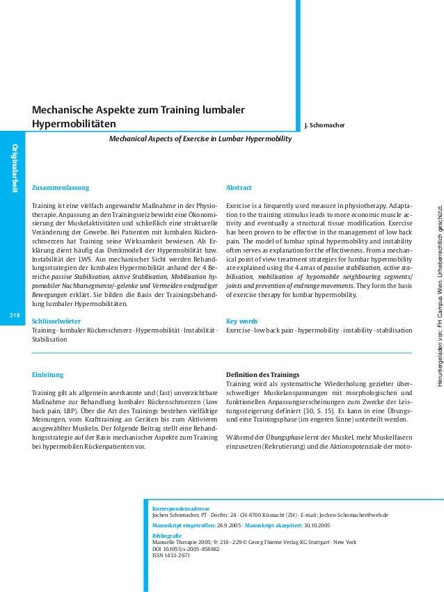 Einleitung Training gilt als allgemein anerkannte und (fast) unverzichtbare Maßnahme zur Behandlung lumbaler Rückenschmerz...