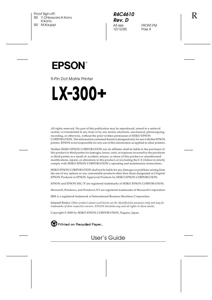 Epson lx 300 service manual pdf