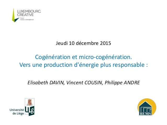 Elisabeth DAVIN, Vincent COUSIN, Philippe ANDRE Jeudi 10 décembre 2015 Cogénération et micro-cogénération. Vers une produc...