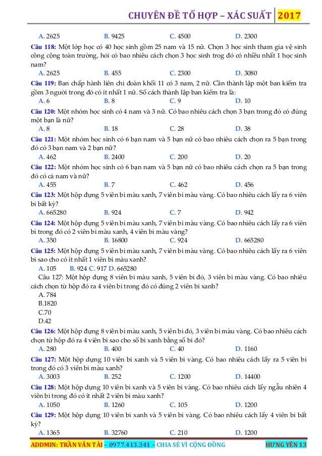 CHUYÊN ĐỀ TỔ HỢP – XÁC SUẤT 2017 ADDMIN: TRẦN VĂN TÀI – 0977.413.341 – CHIA SẺ VÌ CỘNG ĐỒNG HƯNG YÊN 13 A. 2625 B. 9425 C....