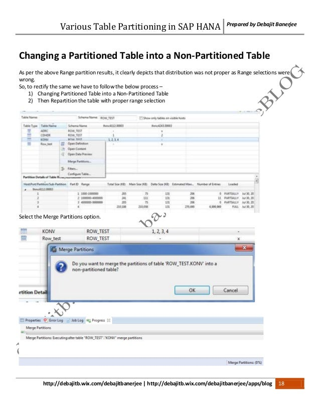 Various Table Partitioning in SAP HANA
