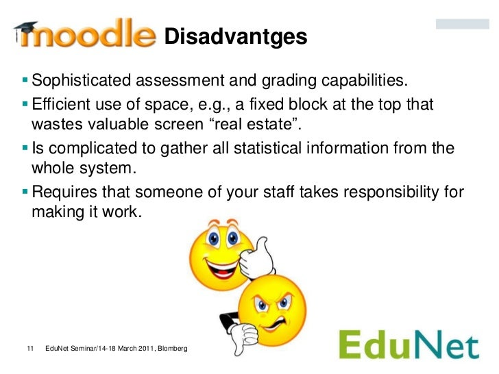Disadvantges Sophisticated assessment and grading capabilities. Efficient use of space, e.g., a fixed block at the top t...