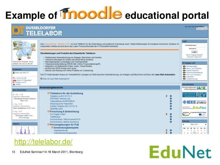 Example of                                        educational portal  http://telelabor.de/ 13   EduNet Seminar/14-18 March...
