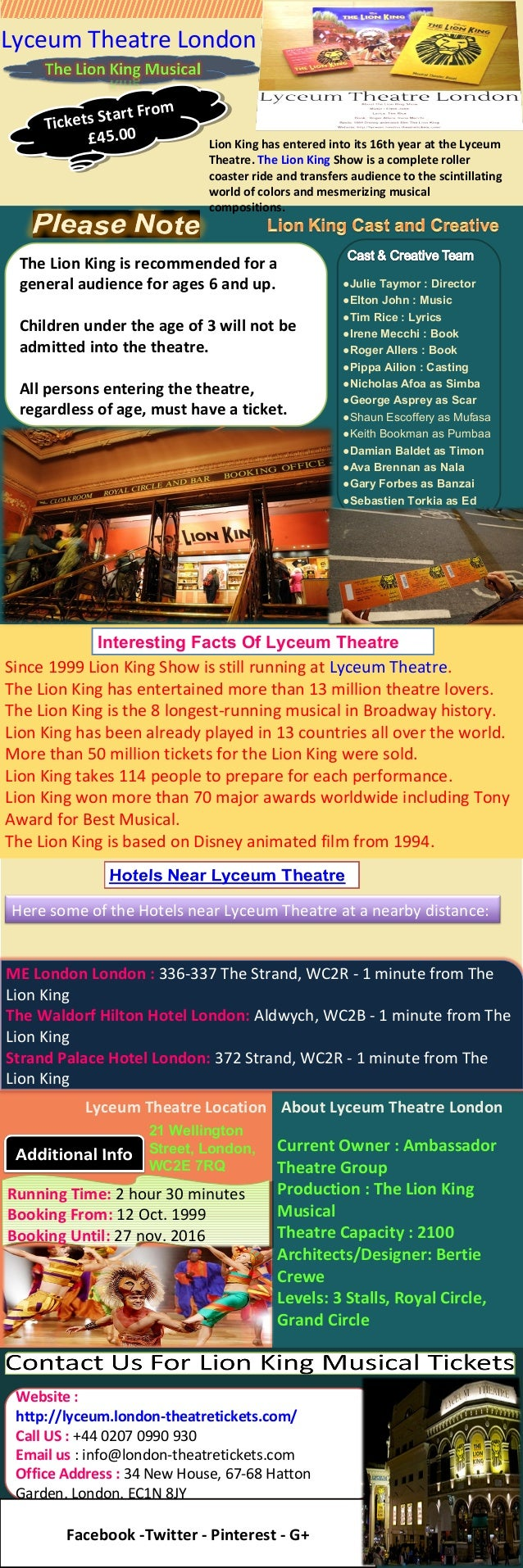 Since 1999 Lion King Show is still running at Lyceum Theatre. The Lion King has entertained more than 13 million theatre l...
