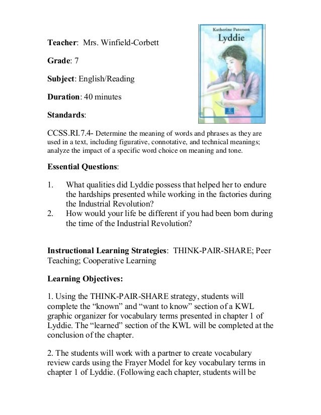 Teacher: Mrs. Winfield-Corbett Grade: 7 Subject: English/Reading Duration: 40 minutes Standards: CCSS.RI.7.4- Determine th...