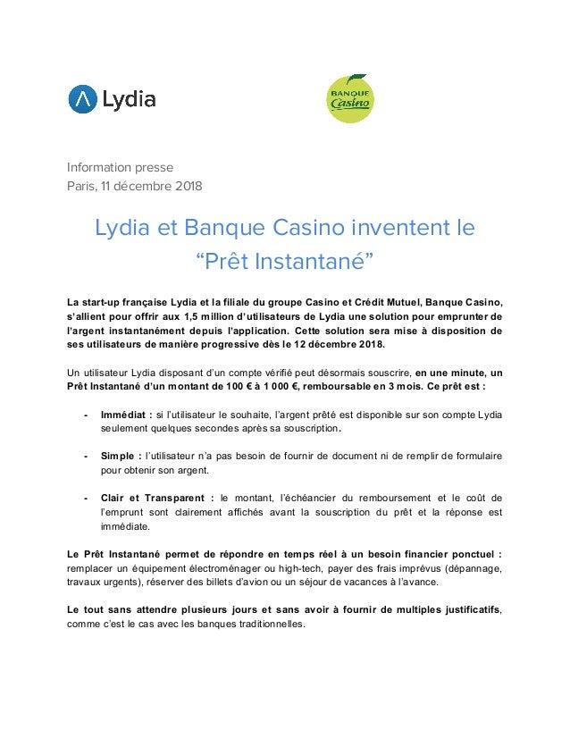 Communique De Presse Lydia Banque Casino