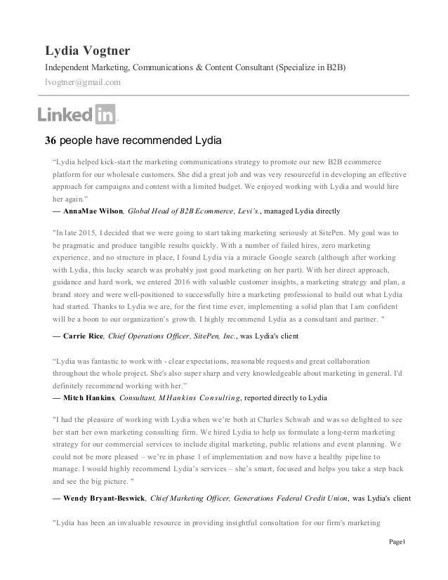 Lydia Vogtner Independent Marketing, Communications & Content Consultant (Specialize in B2B)  lvogtner@gmail.com    ...