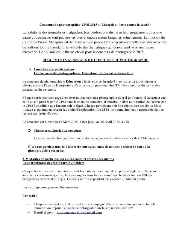 Concours de photographies CPM 2015 « Education : lutte contre la saleté » La solidarité des journalistes malgaches, leur p...