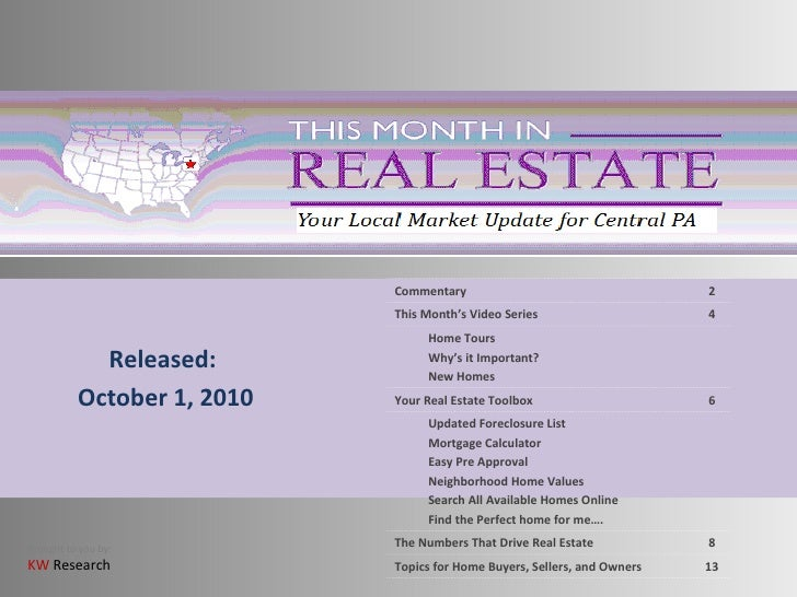 Released: October 1, 2010 6 Your Real Estate Toolbox Home Tours Why's it Important?  New Homes 4 This Month's Video Series...