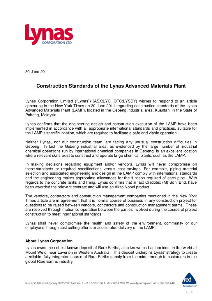"""30 June 2011      Construction Standards of the Lynas Advanced Materials PlantLynas Corporation Limited (""""Lynas"""") (ASX:LYC..."""