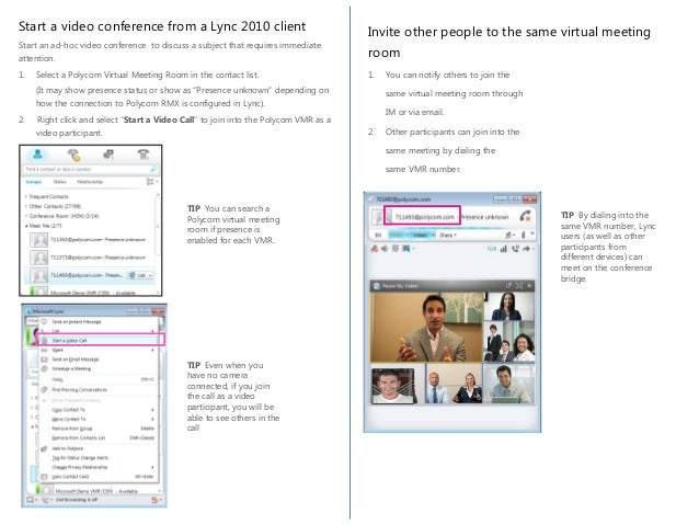 Using Lync 2013 with Polycom Virtual Meeting Rooms (VMR)