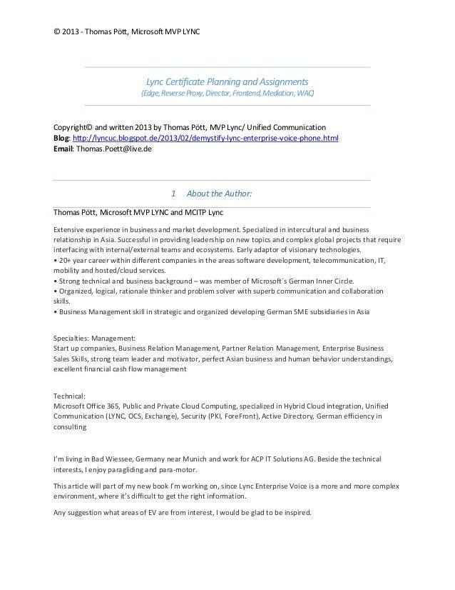 © 2013 - Thomas Pött, Microsoft MVP LYNCLync Certificate Planning and Assignments(Edge,ReverseProxy,Director,Frontend,Medi...
