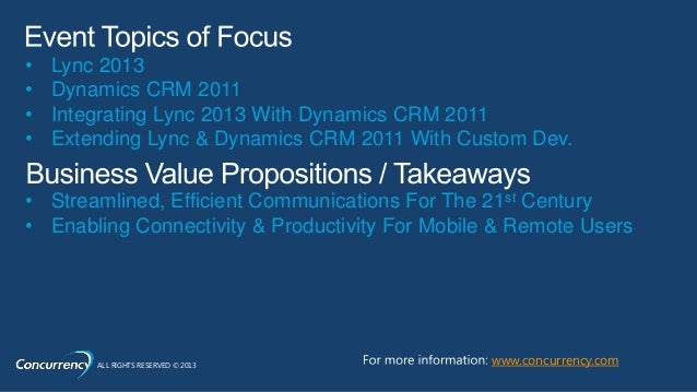 Lync + Dynamics CRM Event Slide 2