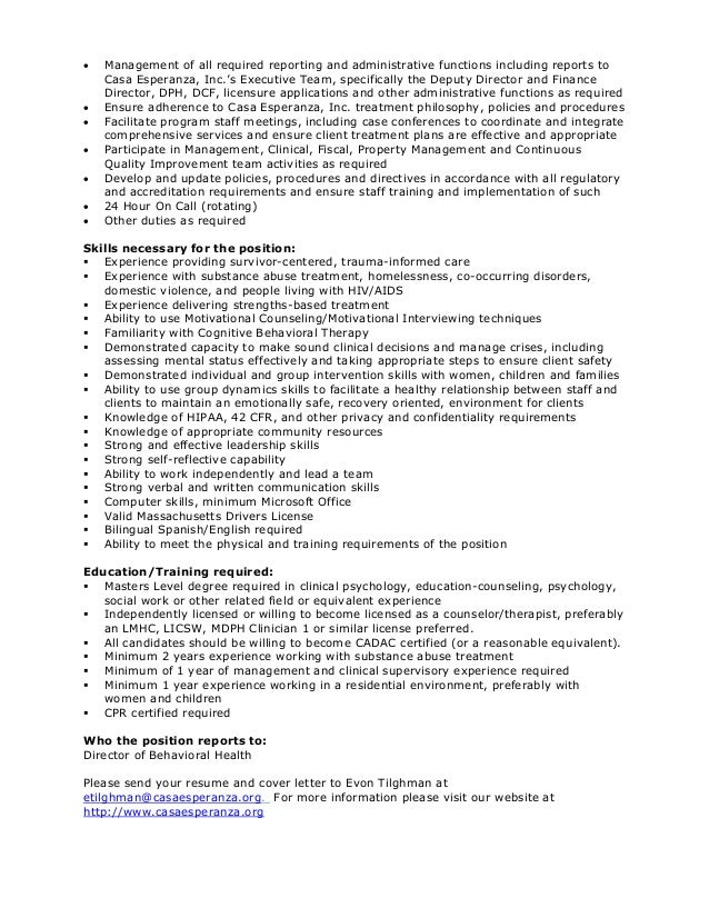 Casa Esperanza Inc Program Director Latinas Y Nios Job Description
