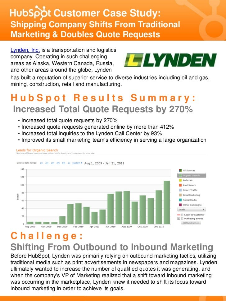 Customer Case Study:Shipping Company Shifts From TraditionalMarketing & Doubles Quote RequestsLynden, Inc. is a transporta...