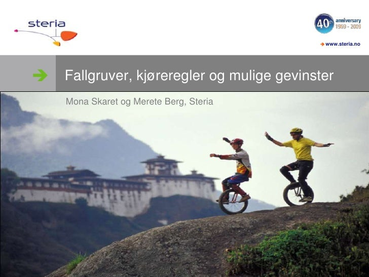 Fallgruver, kjøreregler og mulige gevinster<br />Mona Skaretog Merete Berg, Steria<br />