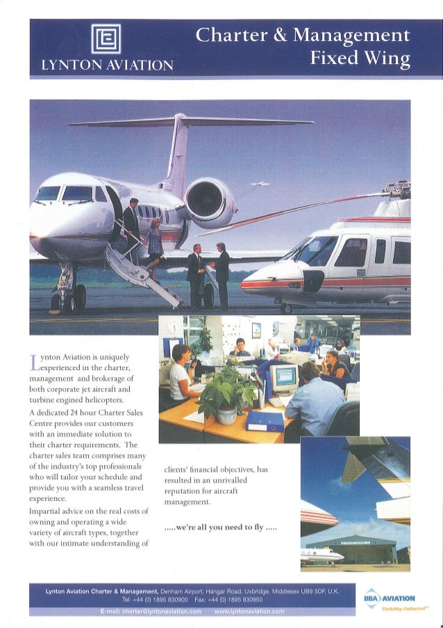Lynton aviation charter and management fixed wing