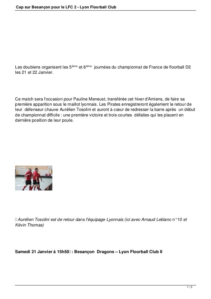 Cap sur Besançon pour le LFC 2 - Lyon Floorball ClubLes doubiens organisent les 5 ème et 6 ème journées du championnat de ...