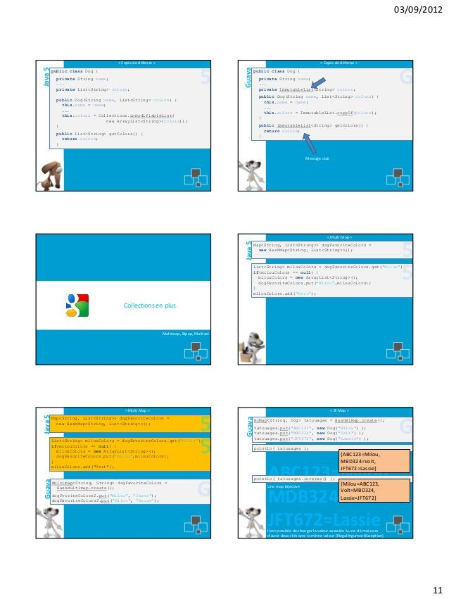 03/09/2012  < Copie de défense >  5  private String name; ... private List<String> colors;  Guava  Java 5  < Copie de défe...