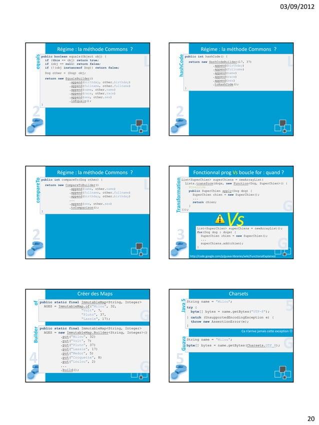 03/09/2012  Régime : la méthode Commons ?  L  Dog other = (Dog) obj;  hashCode  equals  Régime : la méthode Commons ? publ...
