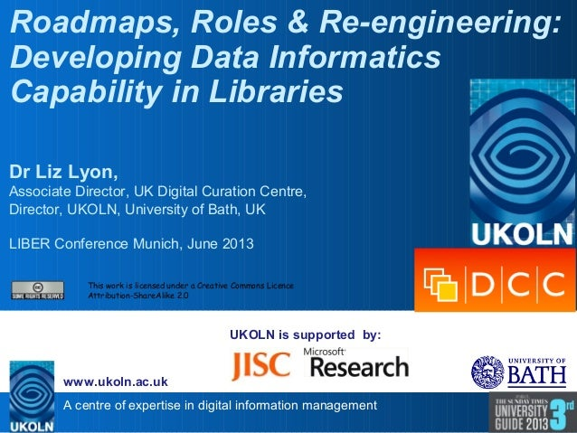 A centre of expertise in digital information management www.ukoln.ac.uk UKOLN is supported by: Roadmaps, Roles & Re-engine...