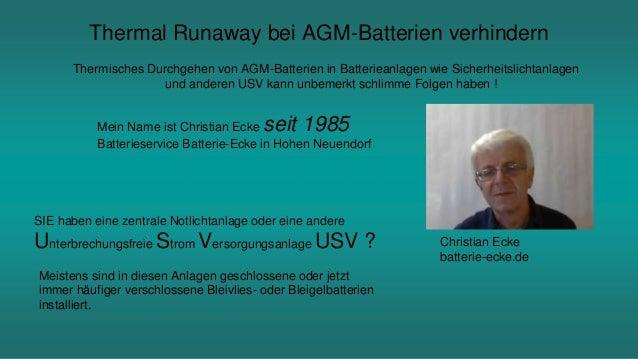 Thermal Runaway bei AGM-Batterien verhindern Thermisches Durchgehen von AGM-Batterien in Batterieanlagen wie Sicherheitsli...